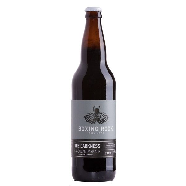 Boxing Rock Darkness Cascadian. A robust and malty India Pale Ale with hoppy and fruit flavours.