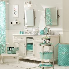 pottery barn teen bathroom ideas - Google Search- Love the color teal
