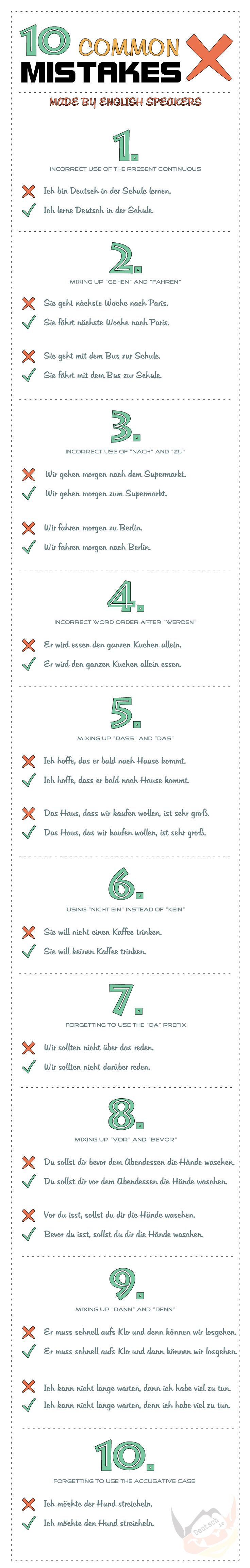 Common #German mistakes made by speakers of English. Check out www.deutsch.ie for more German grammar advice! #Language