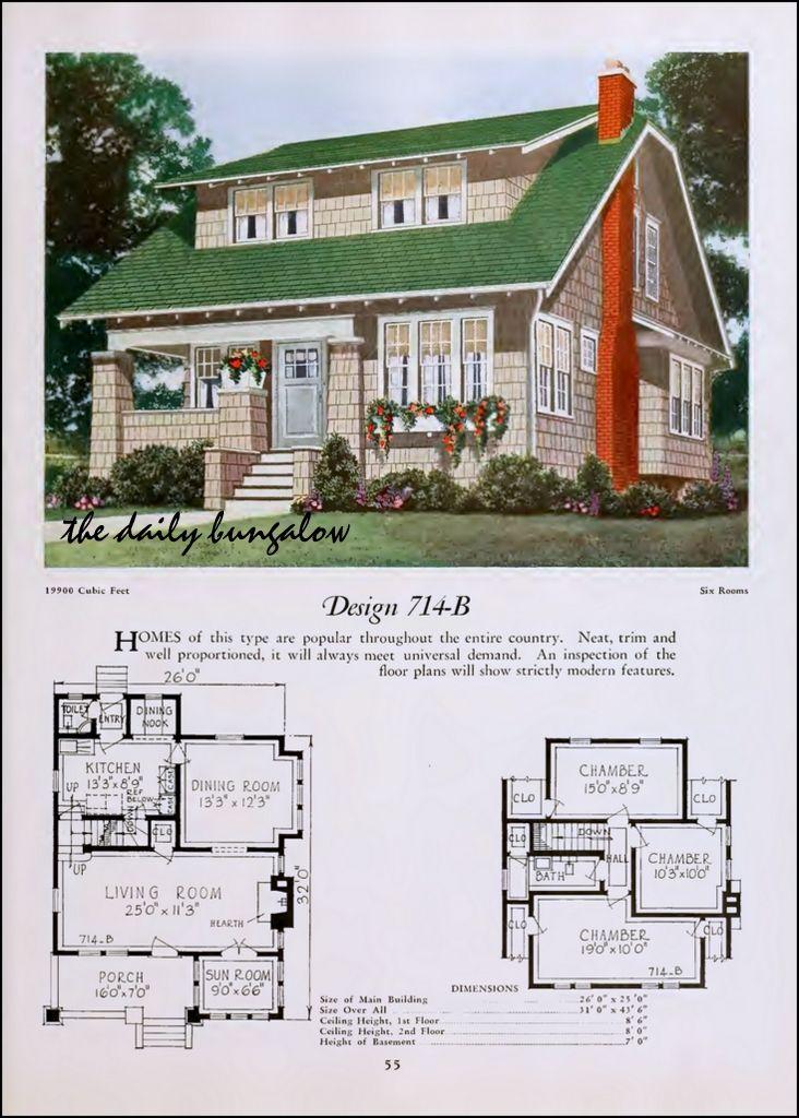 1920 National Plan Service Craftsman Bungalow Exterior Vintage House Plans Bungalow House Plans