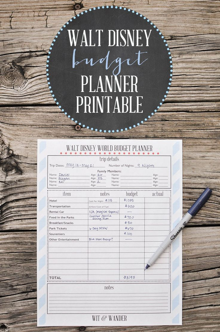 Planning a trip to Disney? Use this printable to budget out your vacation. - Walt Disney World One Year Countdown - Wit & Wander