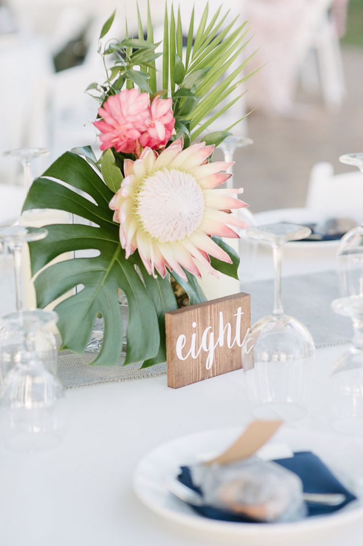 Tropical Centerpiece With King Protea Ginger Monstera Wedding Floral Centerpieces Tropical Wedding Flowers Flower Centerpieces Wedding