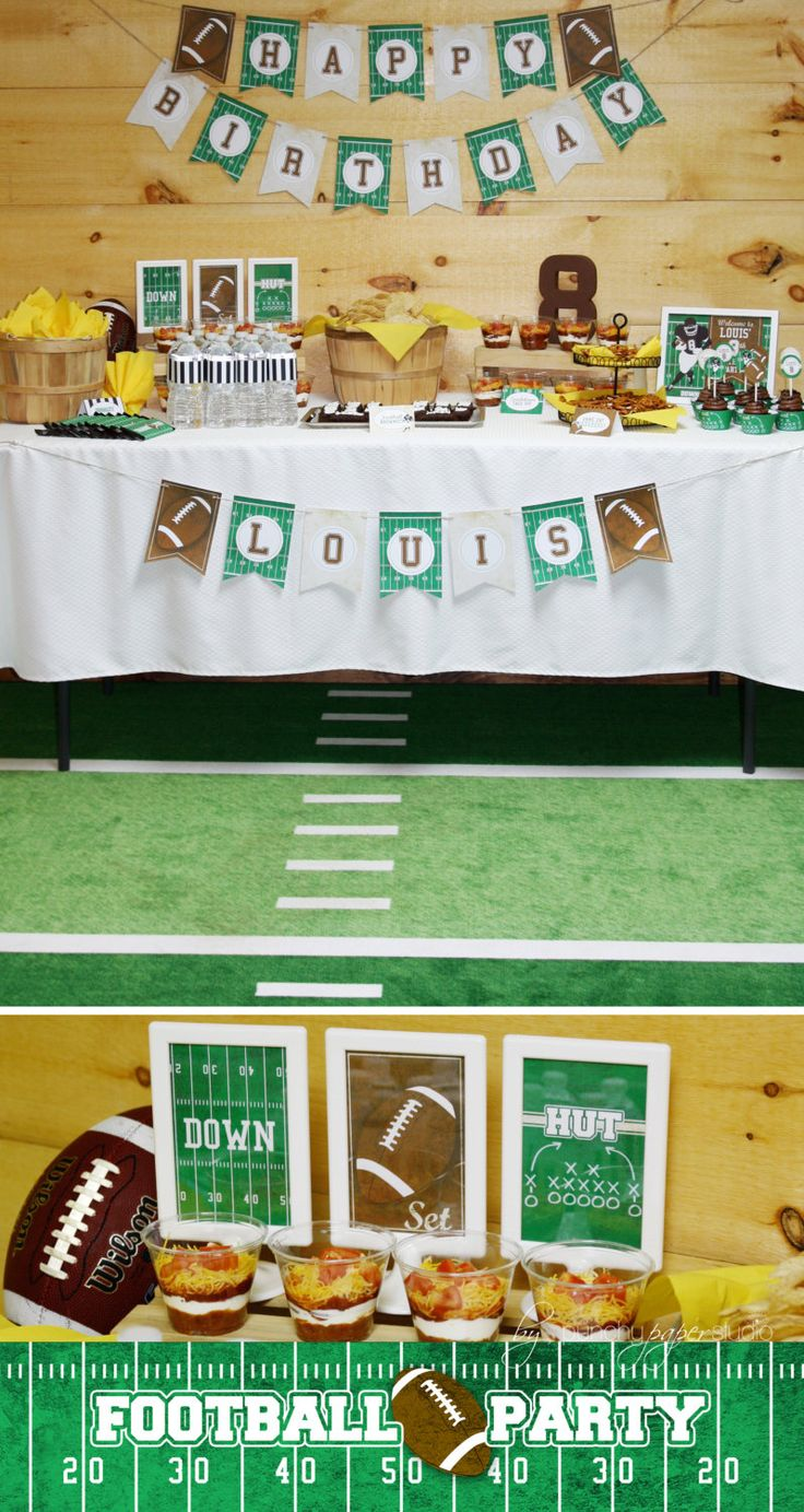 """Football Birthday Party Theme - Complete PERSONALIZED Printable Package (1st Birthday Photo Banner """"Rookie Year"""" add on available) by punchypaperstudio on Etsy https://www.etsy.com/listing/212312786/football-birthday-party-theme-complete"""