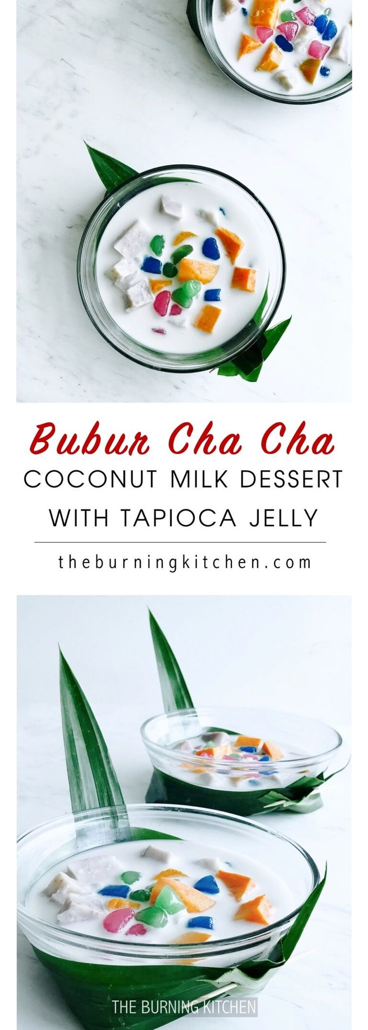 Bubur Cha Cha (bobo cha cha) – This popular Nyonya dessert boasts a delicious combination of steamed sweet potato and taro swimming in freshly-made coconut milk and topped with vibrantly-coloured translucent tapioca jelly cubes. Simply divine!