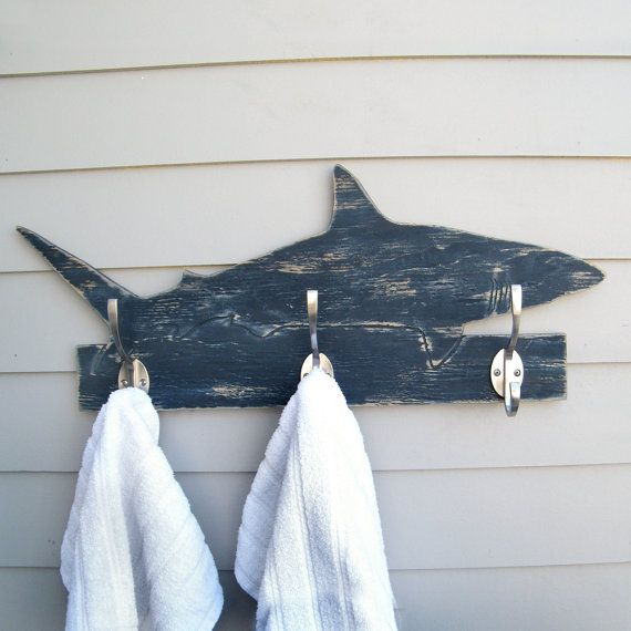 Shark Towel Hook Wooden Mako Shark Coat Hook Ocean от HavenAmerica