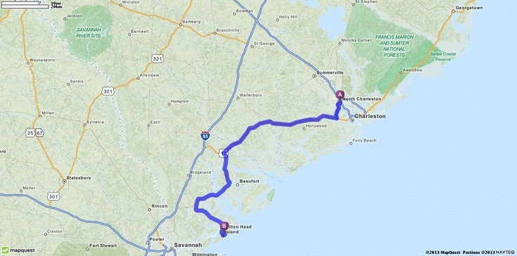 Driving Directions from North Charleston, South Carolina to Hilton Head, South Carolina | MapQuest    2 hours, 19 minutes