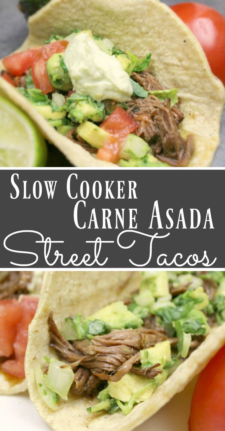These slow cooker carne asada street tacos are so easy and delicious!
