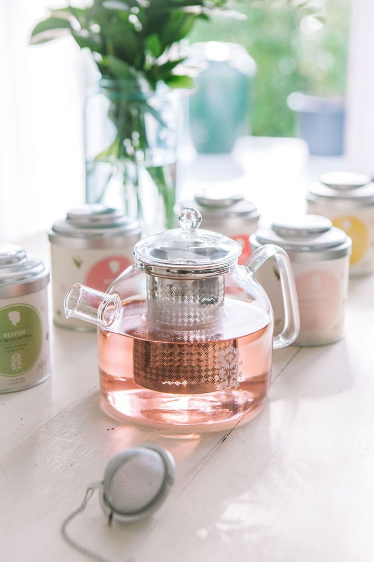 The Bestow Teapot, beautifully crafted from glass and stainless steel. The perfect accessory to your Bestow Organic Herbal Tea Range.