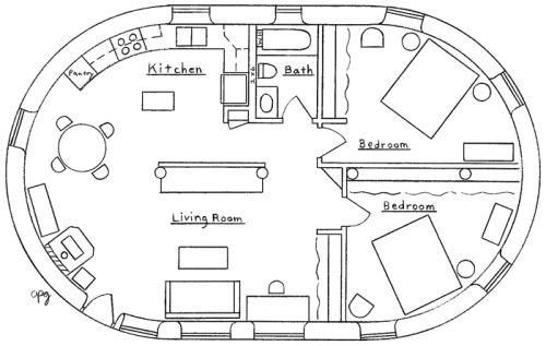 Cob House floorplans: English Earthbag Cottage