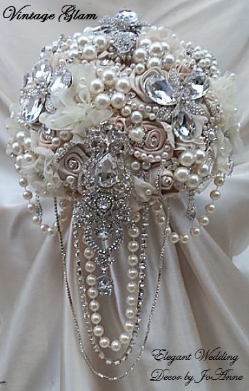 "STUNNING VINTAGE GLAM- Unique Elegant Bridal Brooch Design in 10"", Mix of Champagne and Ivories, Cascading Jeweled Design, Brooch Bouquet"