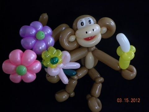 Balloon monkey with flowers