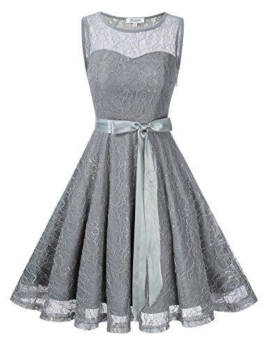 c5ae4c8f33a6 KoJooin Damen Elegant Kleider Spitzenkleid Brautjungfern Kleid ...