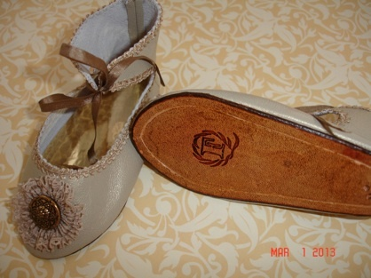 Beautiful French Jumeau leather slipper, styled after an antique Jumeau slipper