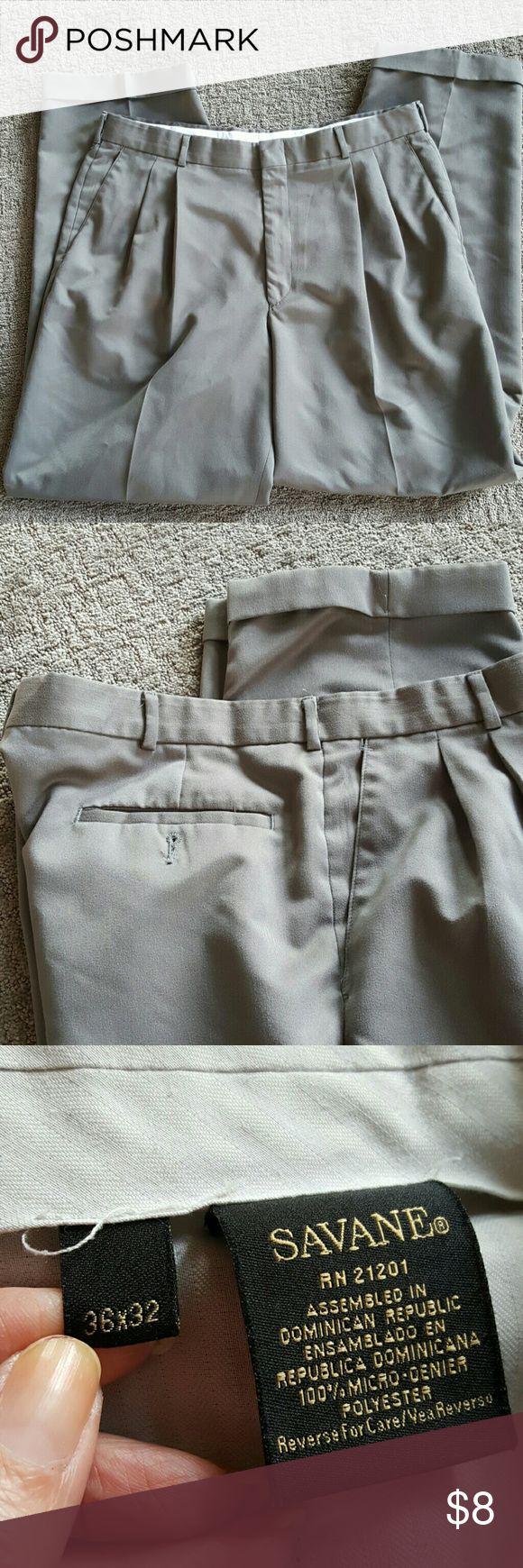 Savane men's dress pants Good condition size 36 32 hundred percent micro Diener polyester. Dark taupe almost a green dark green savane Pants Dress