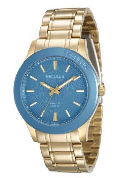 28744LPSVDA1 Relógio Feminino Dourado Seculus Long Life
