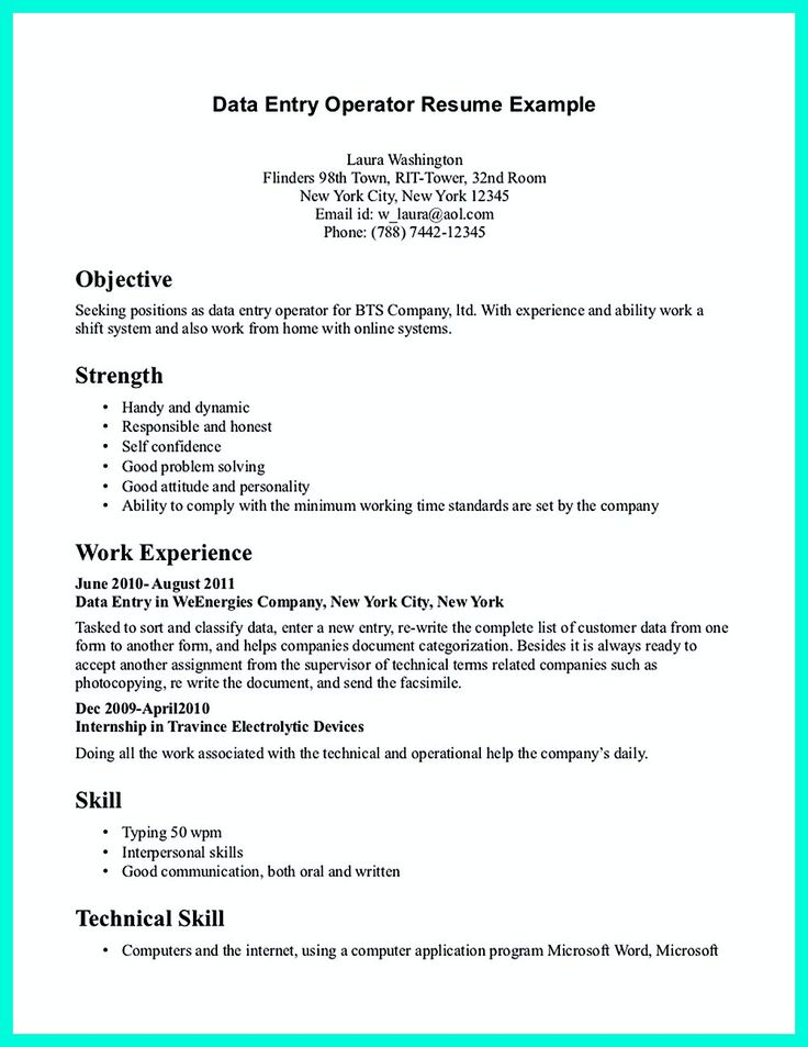 Your data entry resume is the essential marketing key to get the job you seek. The resume including for the data entry specialist resume must be well ... data entry job resume and resume for data entry operator with experience