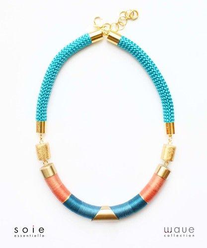 Soie essentielle jewellry #soiessentielle #wavecollection #silk #yarn #necklace #blue #peach  #gold