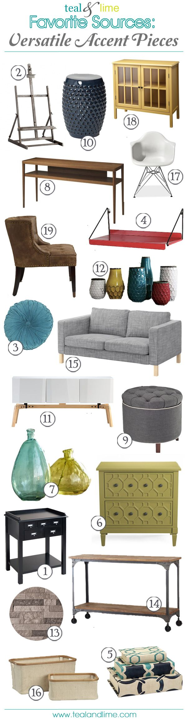 Favorite Sources: Versatile Accent Pieces…. and tons of room decorating ideas!