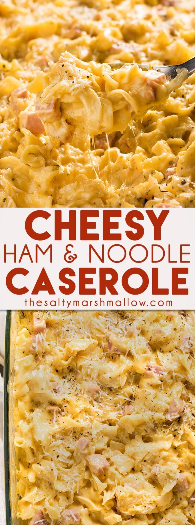 Ham and Noodle Casserole: This cheesy, creamy, ham and noodle casserole is an easy to make, family friendly, main dish recipe! Perfect for a quick, easy, and cheap weeknight dinner! (Favorite Family Dinners)
