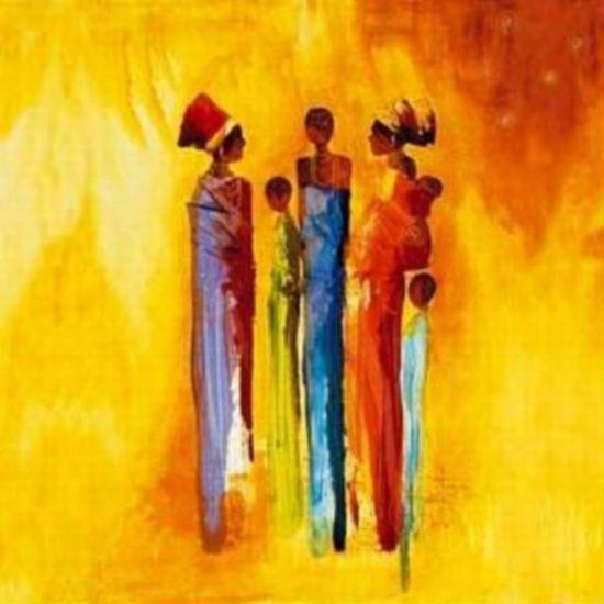 handgeschilderde schilderijen uit diverse Afrikaanse landen. Prachtig #schilderij met #geel #oranje #bruin tinten