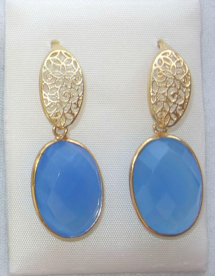 Pendientes de plata 925m chapada con piedra azul.