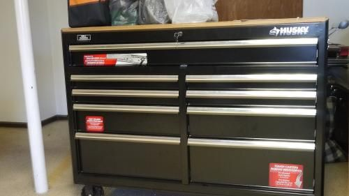 Husky, 52 in. W 9-Drawer Mobile Work Bench, Black, 75809AHR at The Home Depot - Mobile