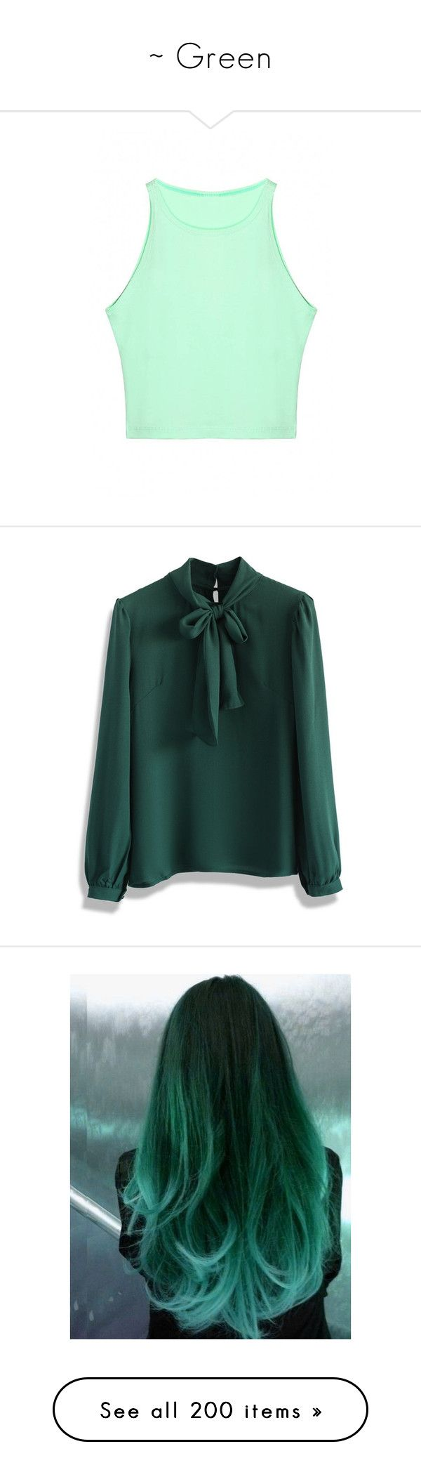"""""""~ Green"""" by moniquedawson09123 ❤ liked on Polyvore featuring tops, green, shirts & tops, leather top, mint crop top, crop top, crew shirt, mint green shirt, blouses and shirts"""