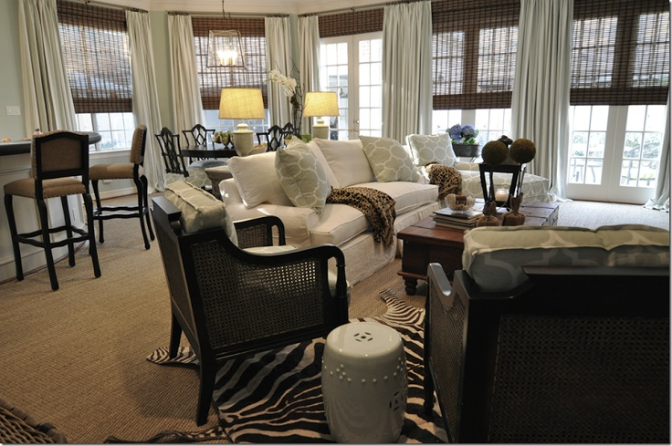 A traditional seating area with white sofa, black and rattan arm chair and wood coffee table.: Living Rooms, Livingrooms, Cote De Texas, Family Rooms, Window Treatments, House, Space, Design