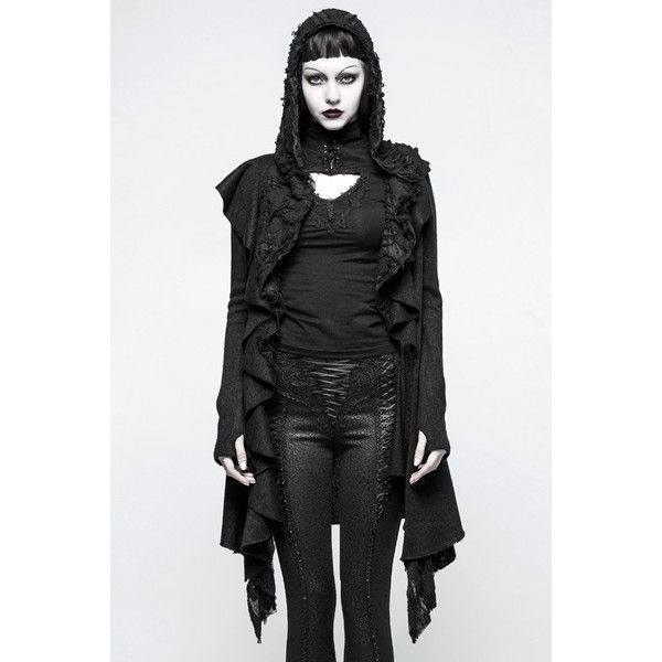 Witchcraft Black Gothic Hooded Cardigan by Punk Rave ($125) ❤ liked on Polyvore featuring tops, cardigans, punk cardigan, punk tops and cardigan top