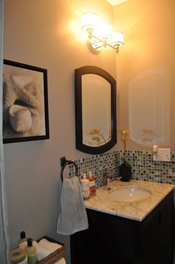 i added a simple glass tile backsplash to my powder room and replaced the pedestal sink with a. Black Bedroom Furniture Sets. Home Design Ideas