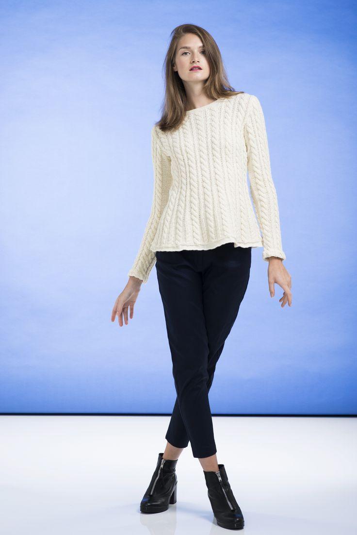 Flätstickad damtröja Novita Nordic Wool och Novita Nalle | Novita knits