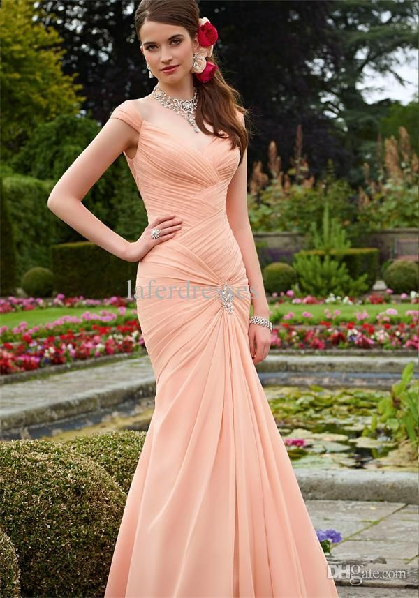 Wholesale Bridesmaid Dresses - Buy 2014 Hot Selling Coral Off the Shoulder Big Discount Bridesmaid Dresses with Ruffles Floor Length Bridesmaid Gowns Cheap!!!, $73.98 | DHgate