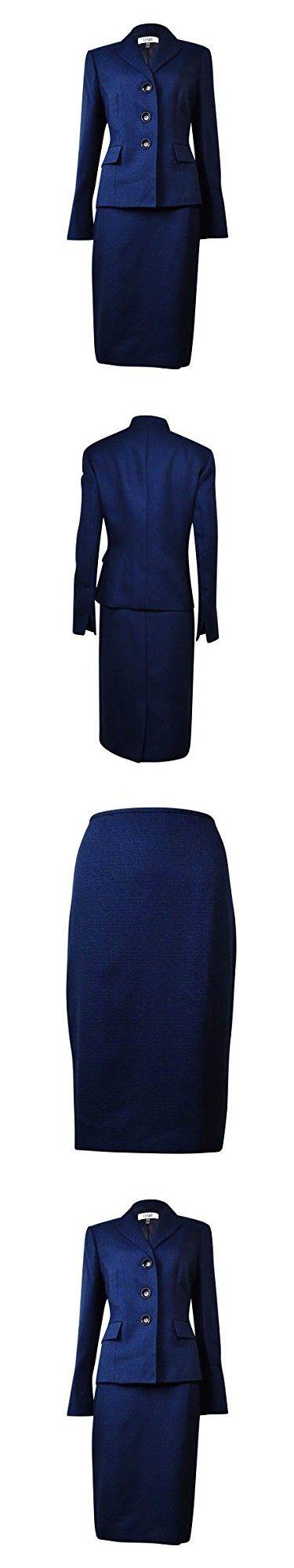 Le Suit Women's Plus-Size 3 Button Tweed Jacket and Skirt Suit Set, Navy Multi, 16W