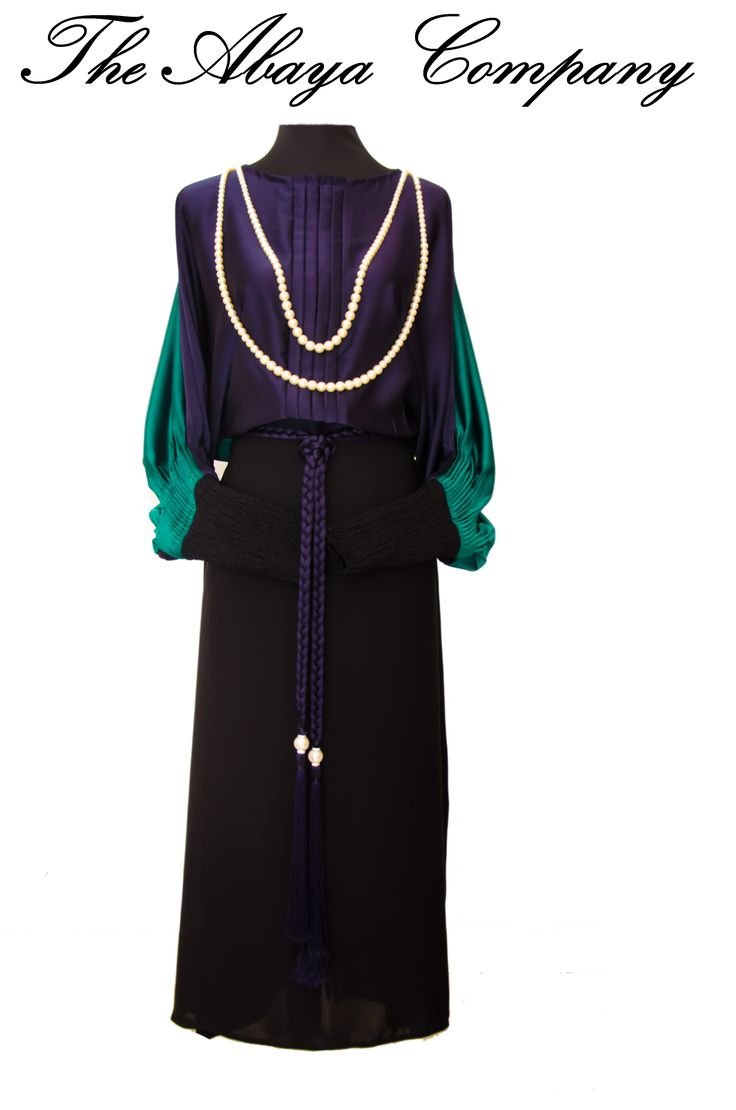 Tres Chic Collection  Lady Love: Navy Blue & Emerald Green  Code: TC004 The pearl hangings can be worn either on the front or on the back to suit your mood! For queries/orders inbox us with you delivery location. Abaya will be made to your cutom size.  You can also follow us on instagram @theabayacompany & whatsapp us at 00971551062559