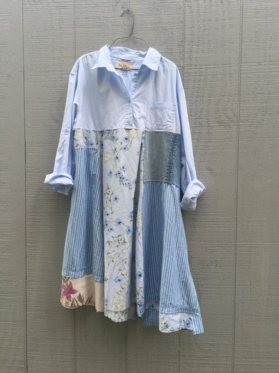 one of a kind upcycled dress by CreoleSha    grab your boots and jeans - sweet but funky little tunic for work or playing in the city - for the bodice i chose a cotton long sleeve shirt and combined it with various cottons and pieced it together in a funky kind of way that is very flattering to the body :) * color palette - blues    * has that nice aline look    *would look great with a pair of wedges / boots, leggings or over jeans SIZE - Medium - Large - designed to have loose hang  Chest…