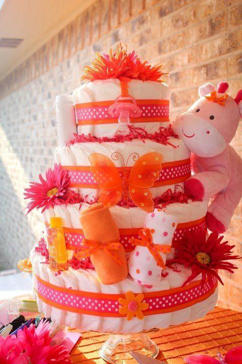 Diaper Cake For Priscilla Love Hot Pink And Hot Orange