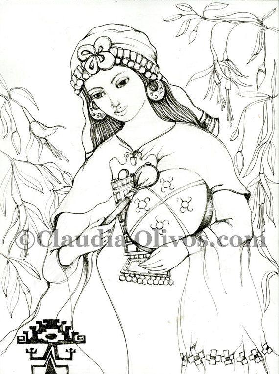 Mapuche Shaman Machi Indian South American Art by OlivosARTstudio