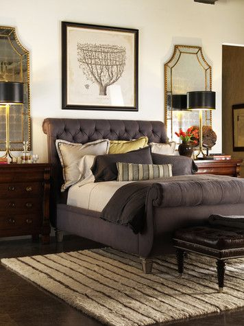 quilted sleigh bed. loved the environment shot.
