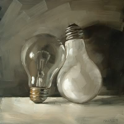 "Daily Paintworks - ""Light Bulb Opposites"" - Original Fine Art for Sale - © Michael Naples"