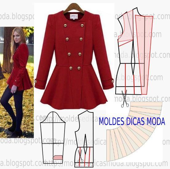 Passo a passo de molde de casaco leve e adequado para meia estação. No blogue existem bases largas, semi-largas e justas em diversos tamanhos.