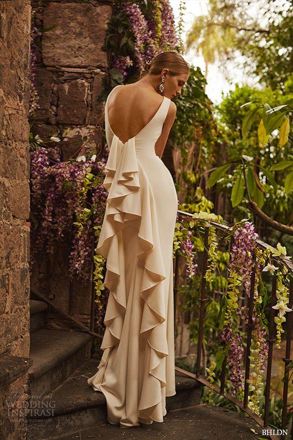 bhldn spring 2015 bridal bateau neckline sleeveless v cut ruffled back creme clean cut sheath wedding dress valentina