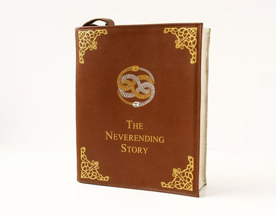 This leather bag is made in a shape of a book. Inspired by the Neverending Story
