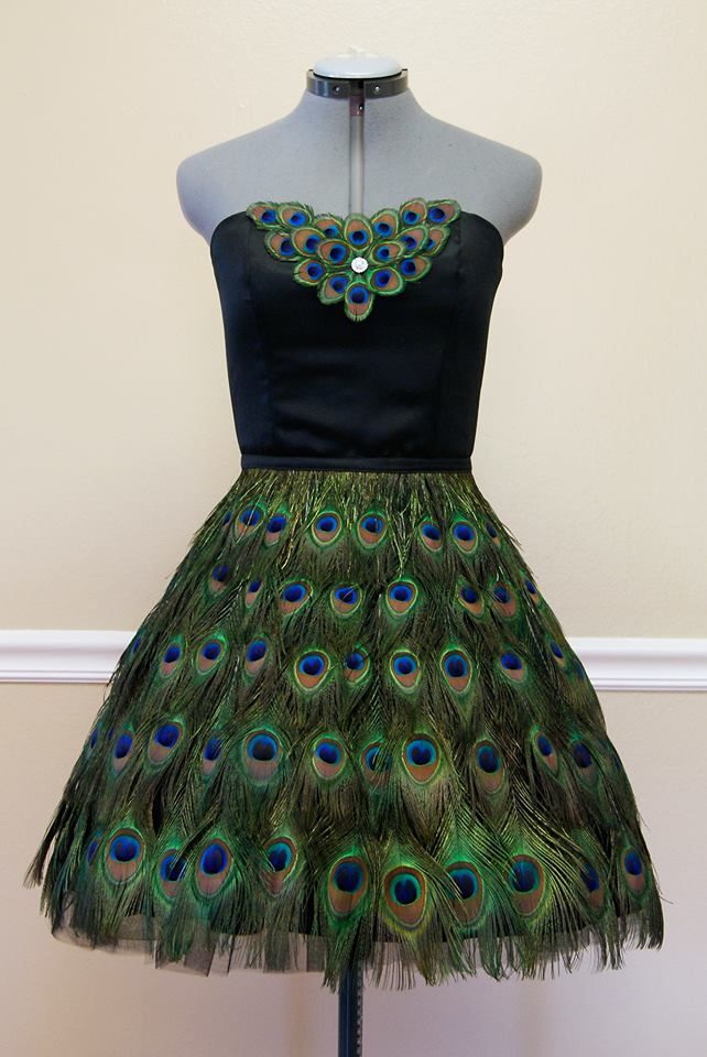 xiaolin couture peacock feather dress  knee length  100  real feathers  peacock  dress  fashion
