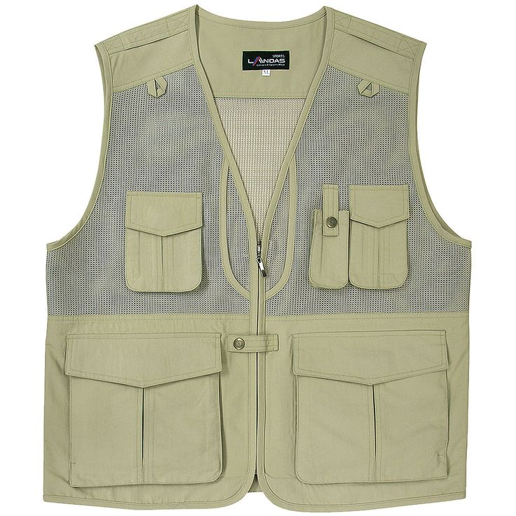 Mens Multi Pockets Fly Fishing Hunting Mesh Vests Travel Outdoor Jacket BEIGE #hellobincom