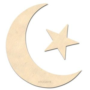 Wooden Shapes, unfinished Plywood, 4-in, 1-pc, Moon and Star