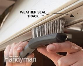 Restore your garage door by installing new weather seals, replacing rotted trim and renewing a rusty track.