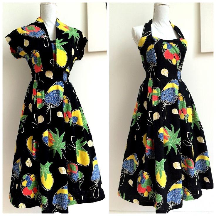50s - DEADSTOCK - Collector's Tropical Halter Dress + Bolero - W26 (66cm), €275