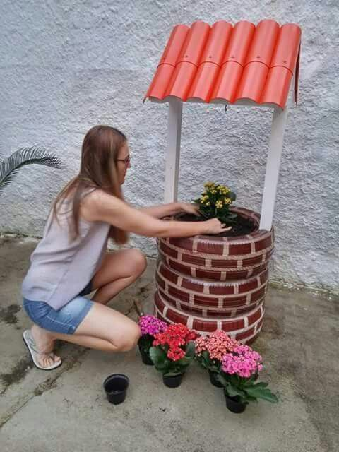wishing well garden art - Creative ways to add color and joy to a garden, porch, or yard with DIY Yard Art and Garden Ideas! Repurposed ideas for the backyard. Fun ideas for flower gardens made from logs, bikes, toys, tires and other old junk. ~ featured at LivingLocurto.com