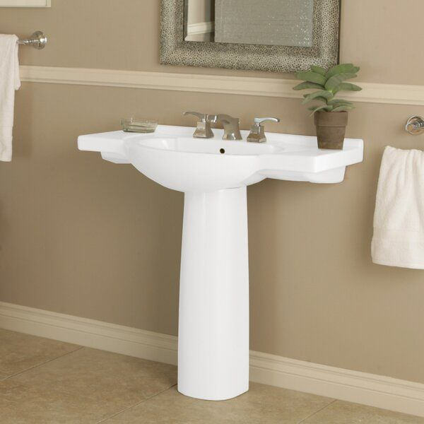 Palermo Ceramic 34 Pedestal Bathroom Sink With Overflow In 2020 Free Standing Sink Bathroom Sink Pedestal Sink Bathroom