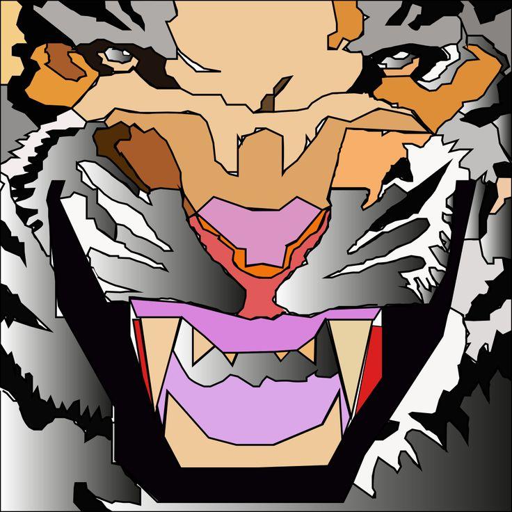 illustrazione di una tigre fatta con forme poligonali